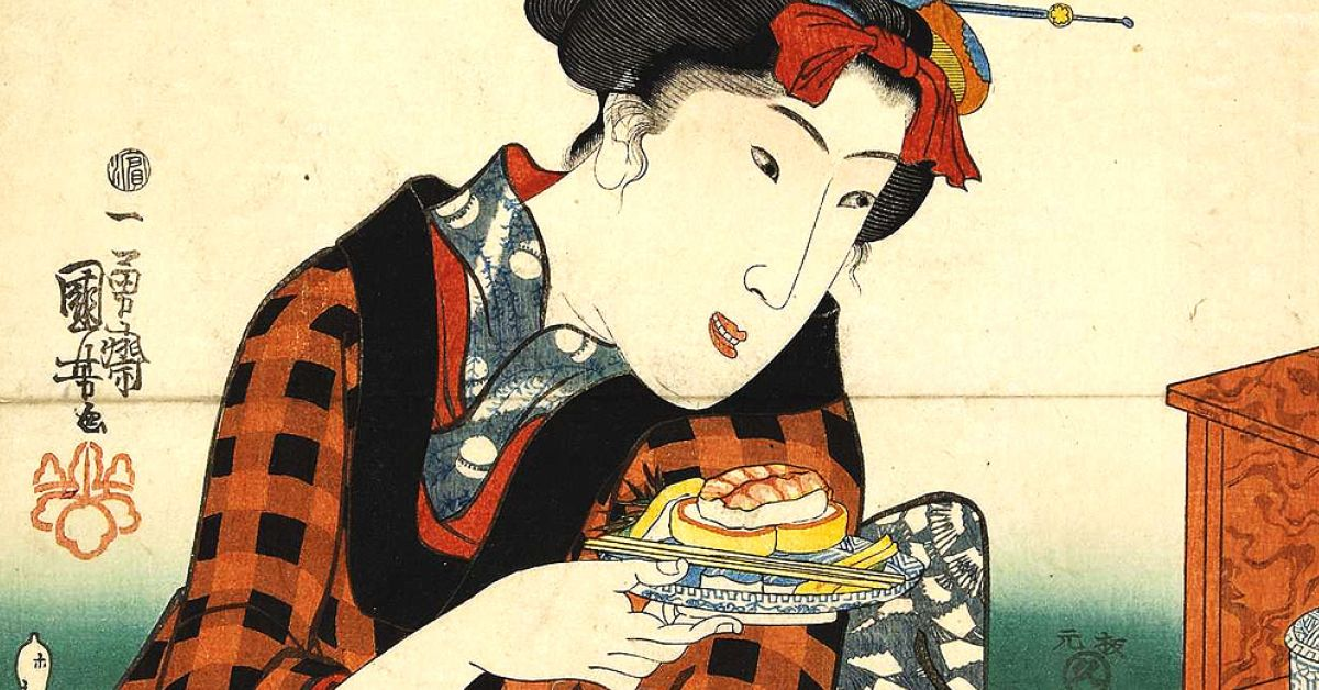 Origine del Sushi in un dipinto